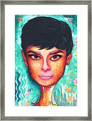 Audrey Hepburn Colorful Pop Art Style Original Painting Framed Print by Megan Duncanson