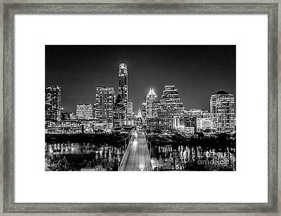 Austin Skyline In Black And White Framed Print by Tod and Cynthia Grubbs