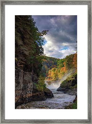 Autumn At The Lower Falls II Framed Print by Rick Berk