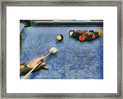 Awareness Zen Pool Framed Print by Max Eberle