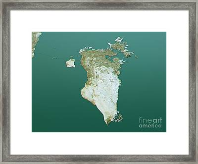 Bahrain Topographic Map 3d Landscape View Natural Color Framed Print by Frank Ramspott