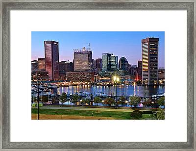 Baltimore Blue Hour Framed Print by Frozen in Time Fine Art Photography