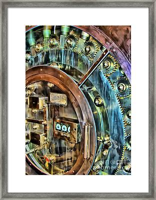 Bank Vault Door Framed Print by Clare VanderVeen