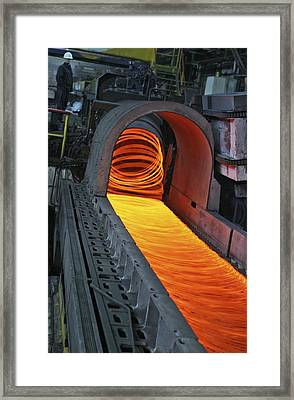 Bar-rolling Mill Processing Molten Metal Framed Print by Ria Novosti