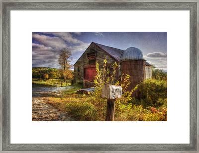 Barn And Silo In Autumn Framed Print by Joann Vitali