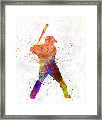 Baseball Player Waiting For A Ball Framed Print by Pablo Romero