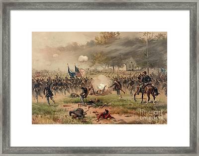 Battle Of Antietam Framed Print by Thure de Thulstrup