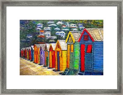 Beach Houses At Fish Hoek Framed Print by Michael Durst