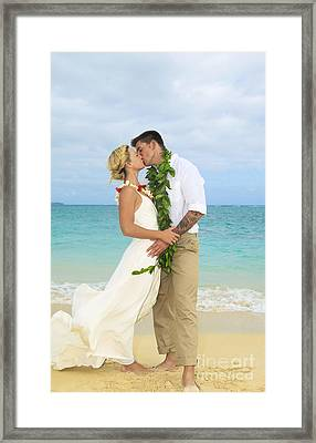 Beach Newlyweds Framed Print by Tomas del Amo - Printscapes