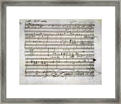 Beethoven Manuscript Framed Print by Granger