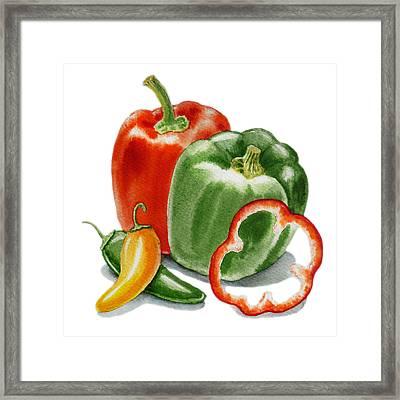 Bell Peppers Jalapeno Framed Print by Irina Sztukowski