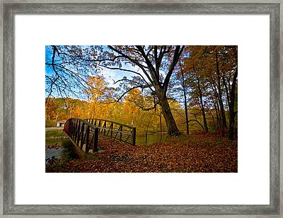 Below The Dam Framed Print by Linda Unger