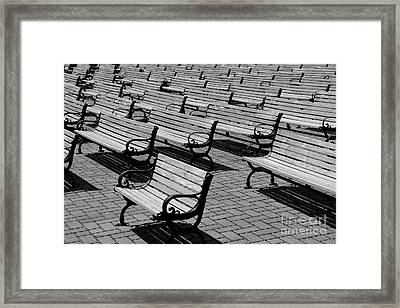 Benches Framed Print by Perry Webster