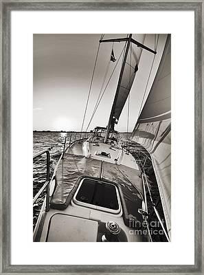 Beneteau 49 Sailing Yacht Close Hauled Charleston Sunset Sailboat Framed Print by Dustin K Ryan