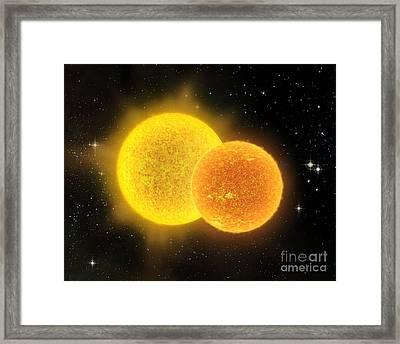 Binary Star System, Artwork Framed Print by David Ducros