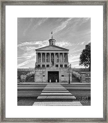Black And White Photography Print Of The State Capital Building Of Nashville Tennessee At Sunrise  Framed Print by Jeremy Holmes