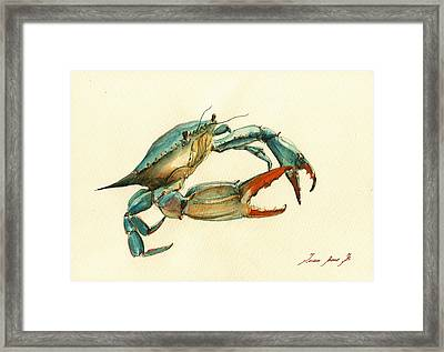 Blue Crab Painting Framed Print by Juan  Bosco