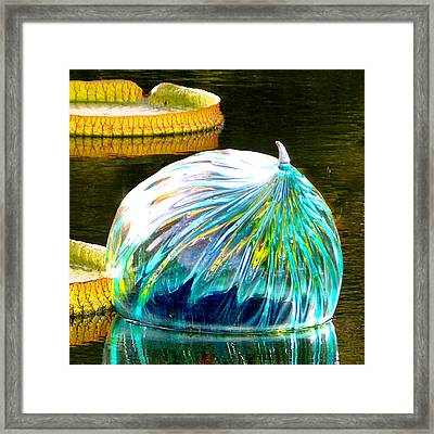 Blue Glass Reflections Framed Print by John Lautermilch