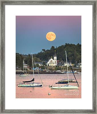 Boothbay Harbor Supermoon Framed Print by Benjamin Williamson
