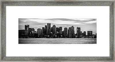 Boston Skyline Black And White Panoramic Picture Framed Print by Paul Velgos