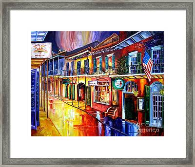 Bourbon Street Red Framed Print by Diane Millsap