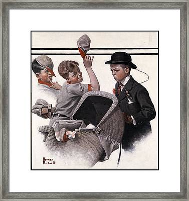 Boy With Baby Carriage Framed Print by Norman Rockwell