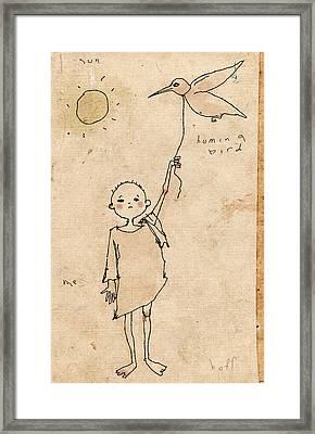 Boy With Bird Framed Print by H James Hoff
