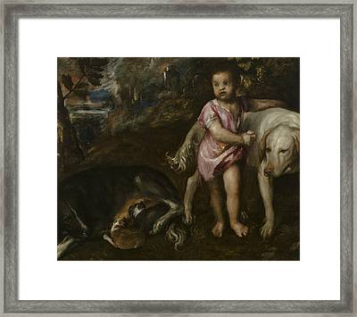 Boy With Dogs In A Landscape Framed Print by Titian