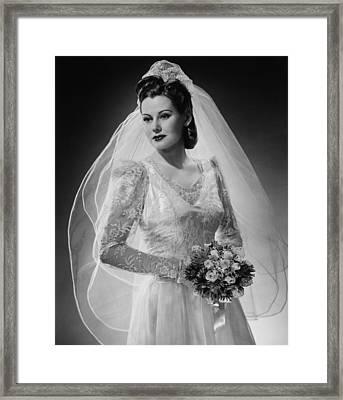 Bride Posing In Studio, (b&w), Portrait Framed Print by George Marks