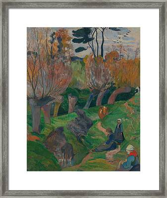 Brittany Landscape With Cows Framed Print by Paul Gauguin