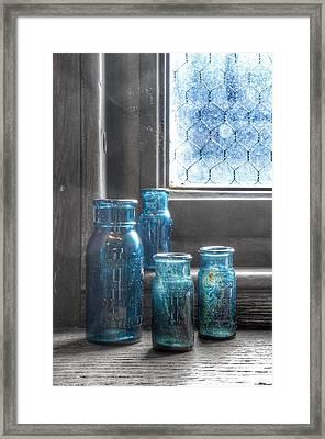 Bromo Seltzer Vintage Glass Bottles  Framed Print by Marianna Mills