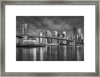 Brooklyn Bridge From Dumbo Framed Print by Susan Candelario