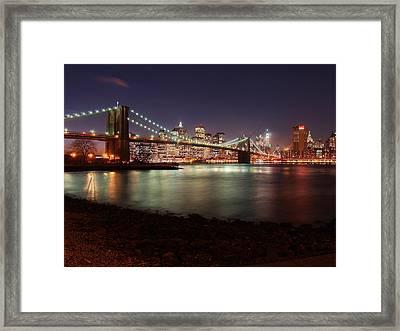 Brooklyn Bridge Nights Framed Print by Nina Papiorek