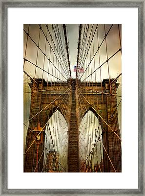 Brooklyn Bridge Twilight Framed Print by Jessica Jenney