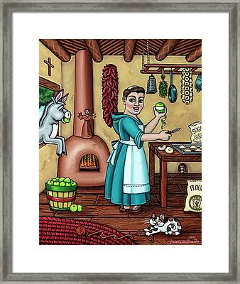 Burritos In The Kitchen Framed Print by Victoria De Almeida