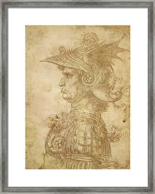 Bust Of A Warrior In Profile Framed Print by Leonardo da Vinci