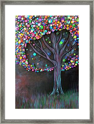 Button Tree 0006 Framed Print by Monica Furlow