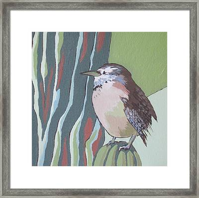 Cactus Wren Framed Print by Sandy Tracey