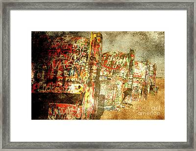 Cadillac Ranch On Route 66 Framed Print by Susanne Van Hulst