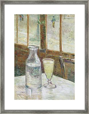Cafe Table With Absinthe Framed Print by Vincent van Gogh