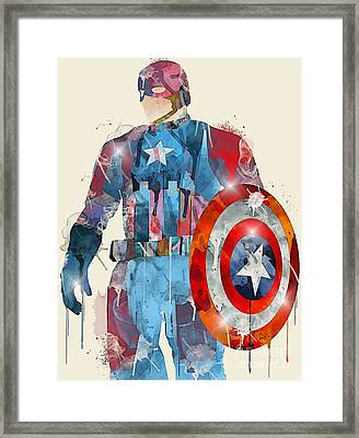 Captain America Framed Print by Bri B