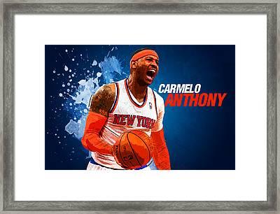 Carmelo Anthony Framed Print by Semih Yurdabak