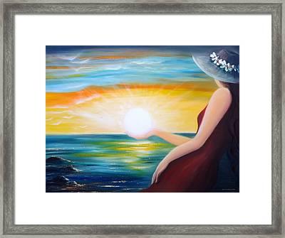 Carpe Diem, Sunset Sunrise Framed Print by Gina De Gorna