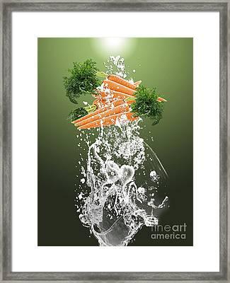 Carrot Splash Framed Print by Marvin Blaine