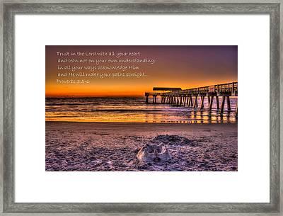 Castles In The Sand 2 Tybee Island Pier Sunrise Framed Print by Reid Callaway