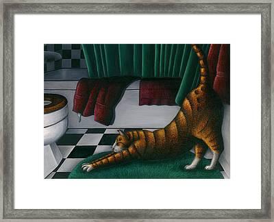 Cat Stretching In Bathroom Framed Print by Carol Wilson