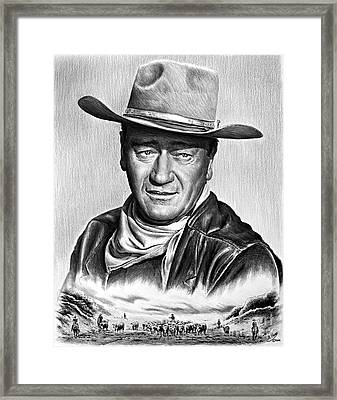 Cowboy Pencil Drawings Framed Print featuring the drawing Cattle Drive 2 by Andrew Read