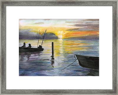 Chesapeake Sunset Framed Print by Clara Sue Beym