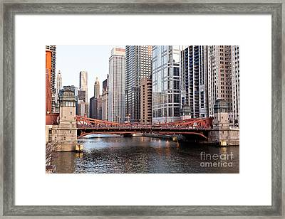 Chicago Downtown At Lasalle Street Bridge Framed Print by Paul Velgos
