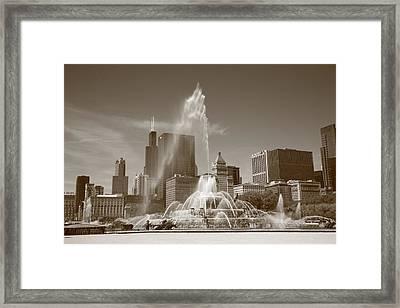 Chicago Skyline And Buckingham Fountain Framed Print by Frank Romeo